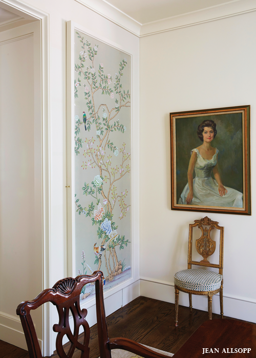 Handpainted wallpaper panels framed on walls or as art to