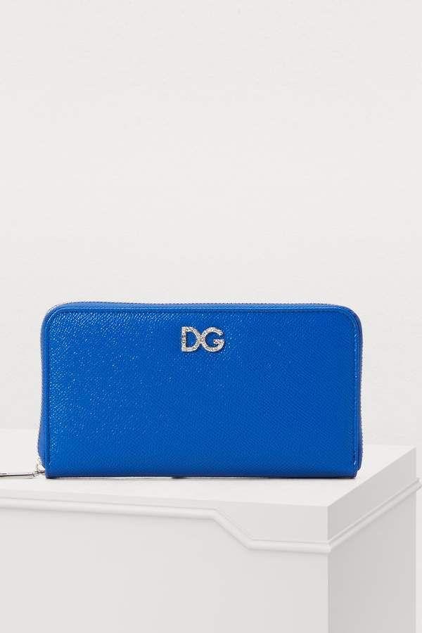 6205547f Dolce & Gabbana Zip around wallet, Bright Blue Dolce & Gabbana wallet with  DG logo