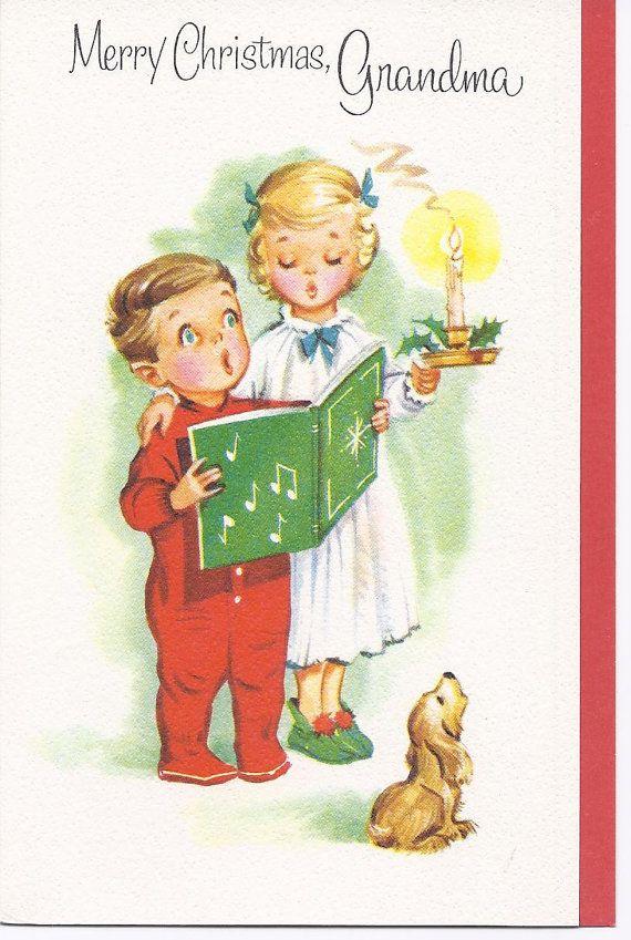 C101 Vintage Grußkarte jungen und Mädchen singen in PJ\'s ...