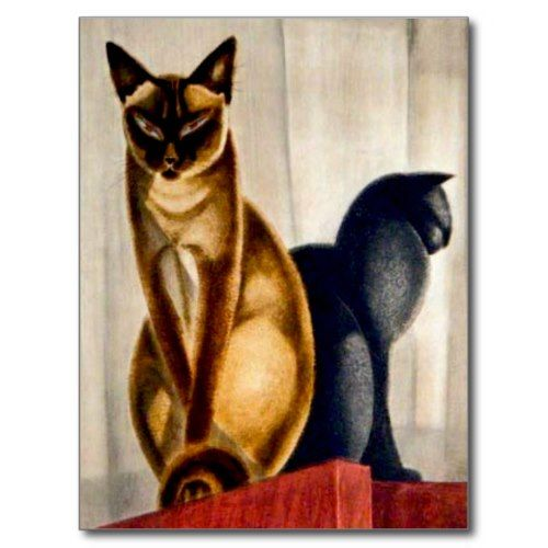 Art Deco Cats Postcard by msdespina on Zazzle