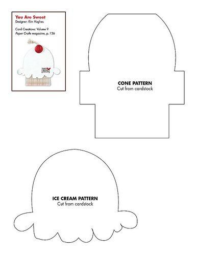 Free ice cream cone card base pattern