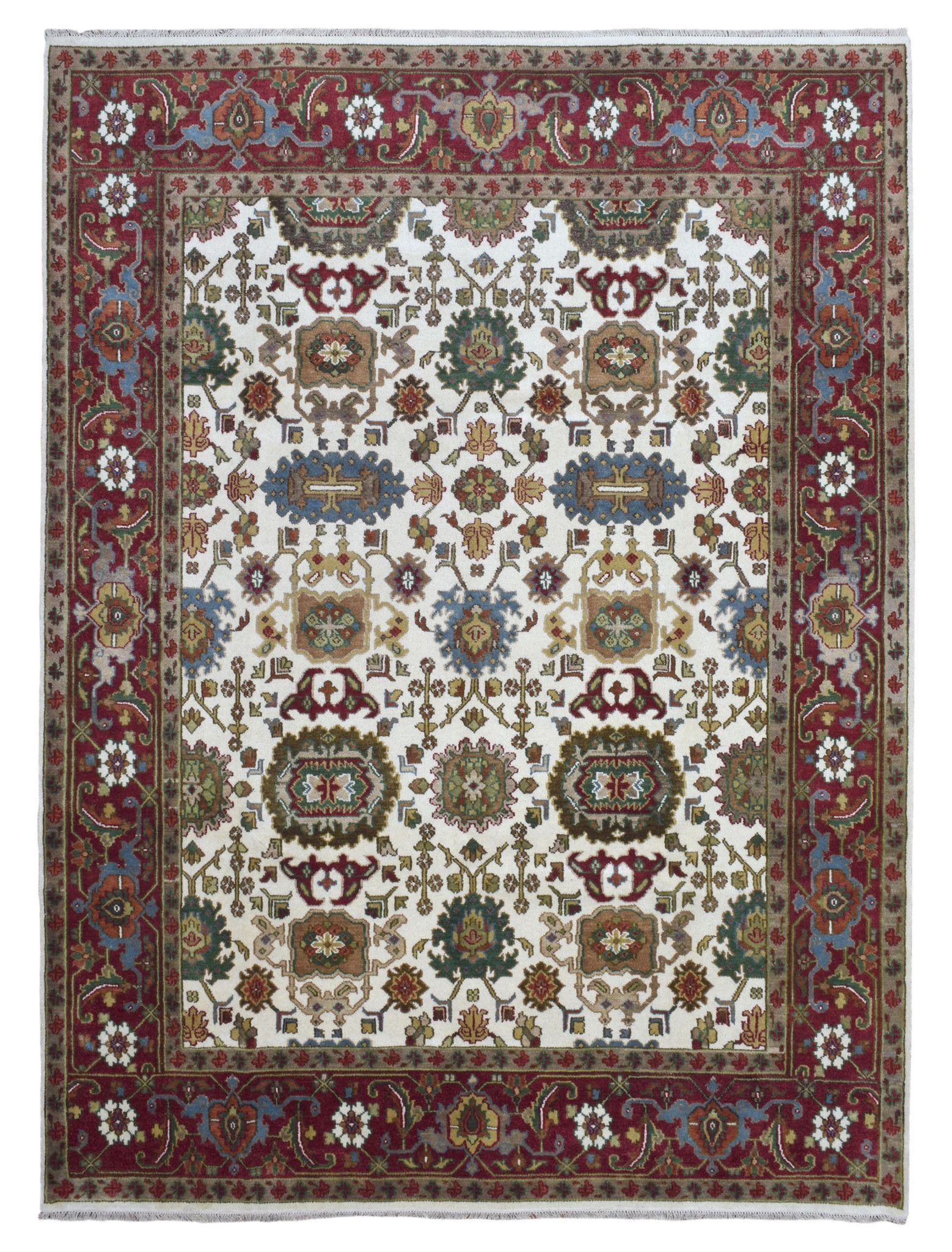 Beige and Red Large Mahal Oriental Rug 9'9X11'10