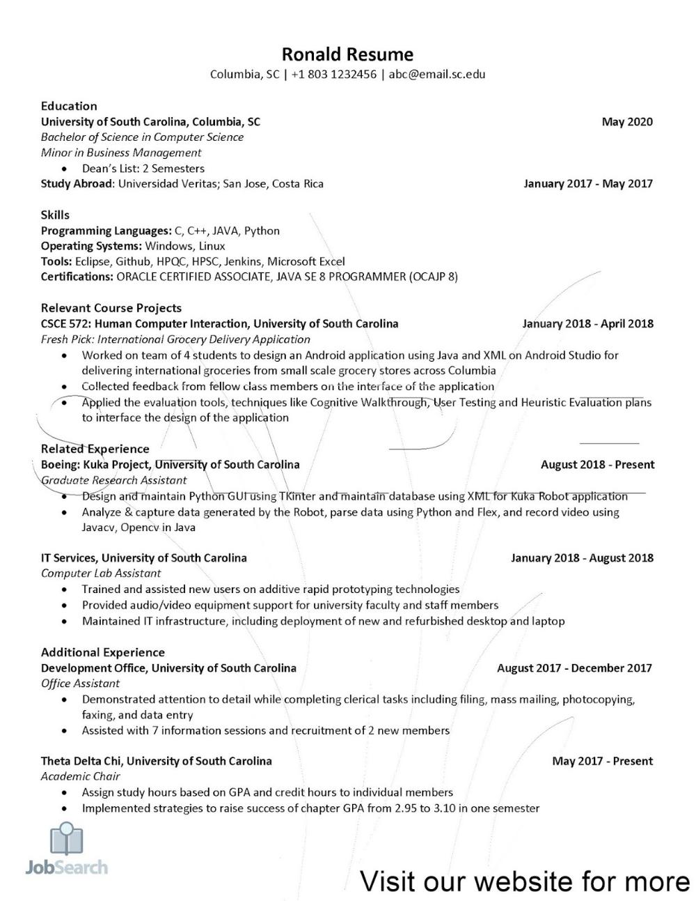 Resume For Engineering Internship Students 2020 Resume For Engineering Resume For Engineerin In 2020 Student Resume Template Engineering Internships Student Resume