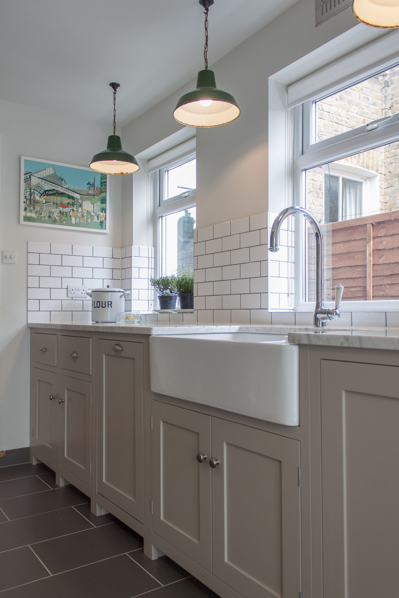 Wide Belfast Sink Putty Units White Worktop Vintage Pendant Lighting Kitchens Pinterest