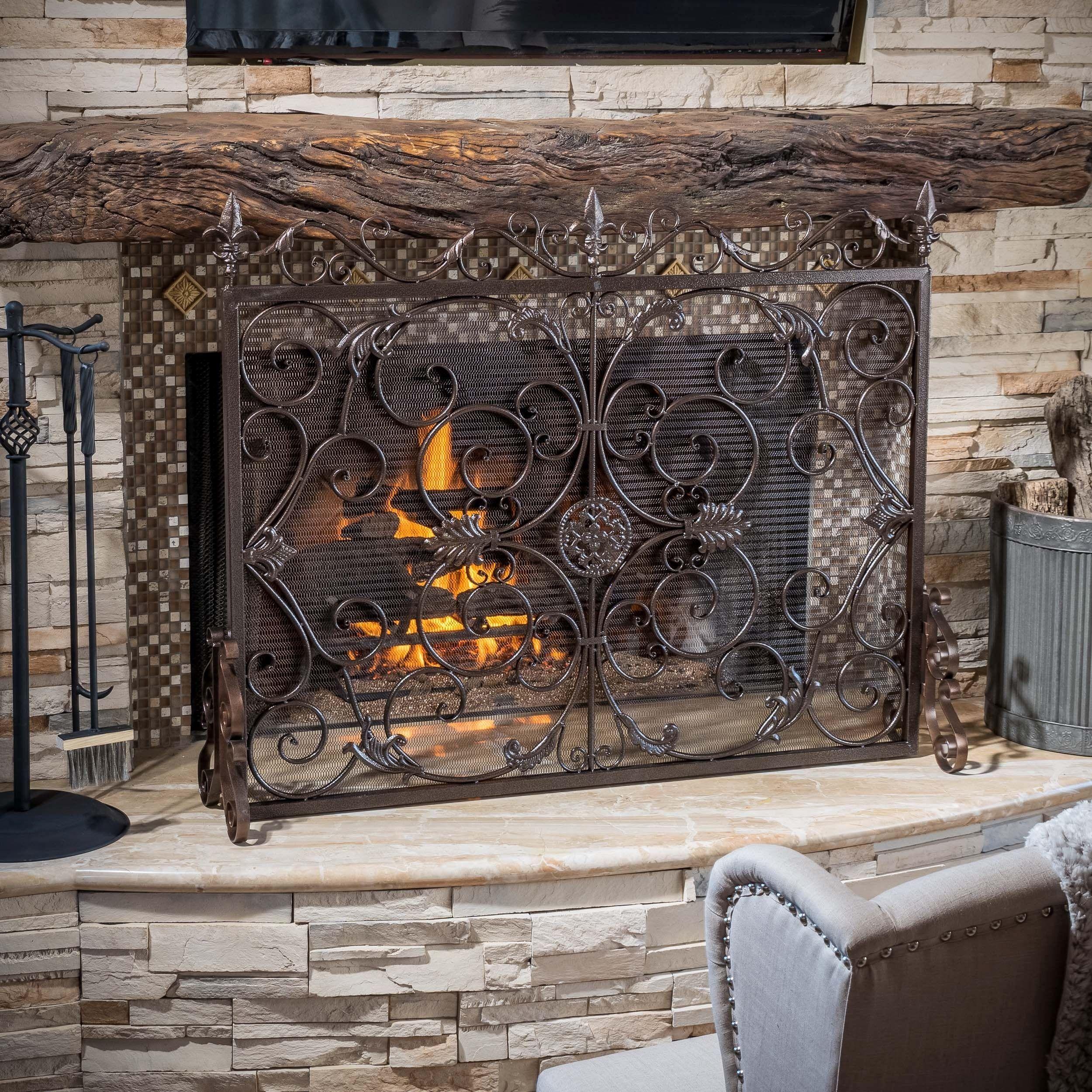 surrounds custom glass fireplace screen door iron and wrought screens