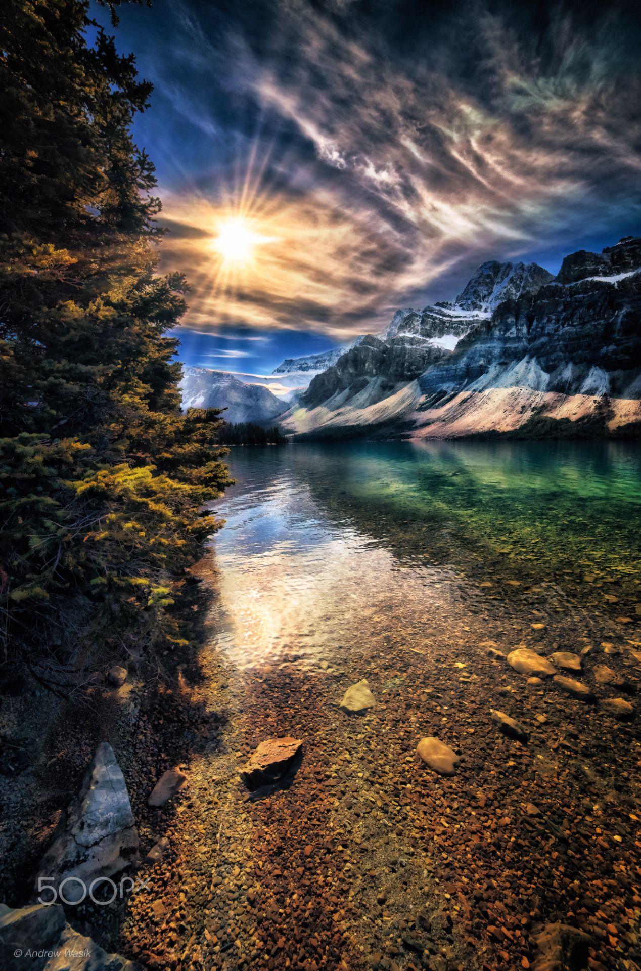 Bow Lake Sun By Andrew Wasik At Banff N P Travel Gurus