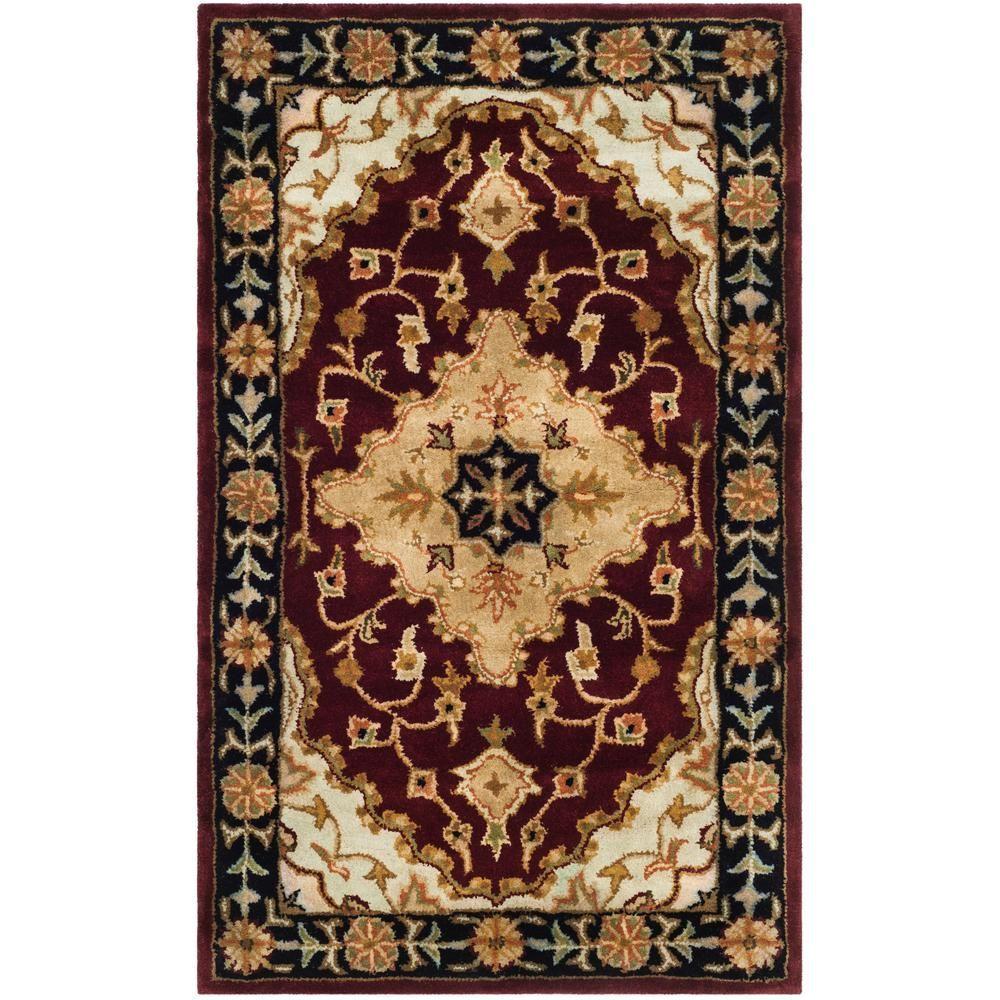 Safavieh Heritage Red Black 3 Ft X 5 Ft Area Rug Hg760b 3 Rugs Throw Rugs Wool Rug