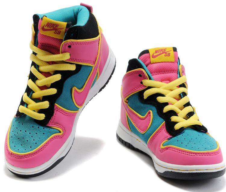 best service fe44c 4e3e9 Girls Nike Dunk SB High Top Shoes Pink Green