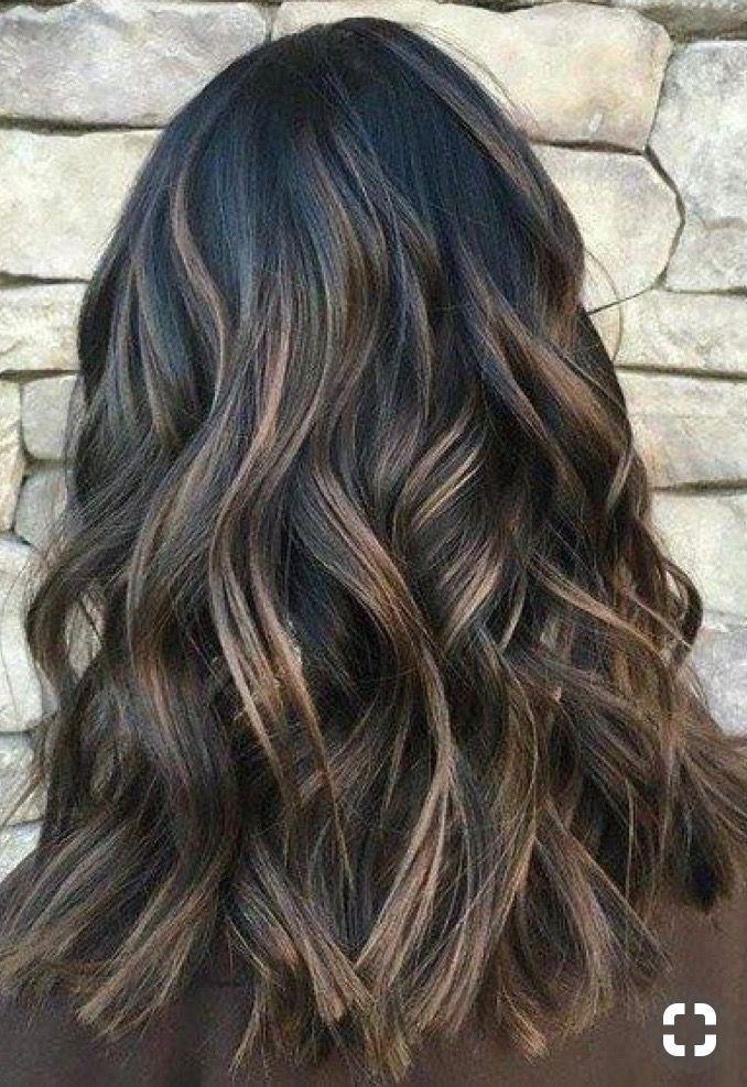 Dark Brunette With Highlights Hair Hair Cabelo Lindo Cabelo