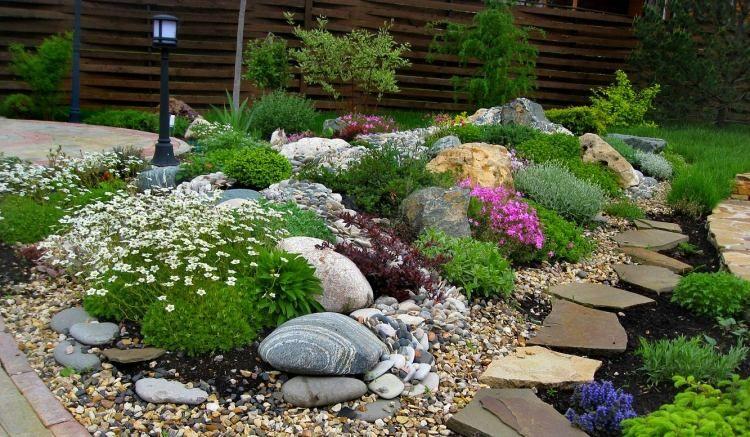 steingarten-gestalten-kies-straucharten-farben | garten,