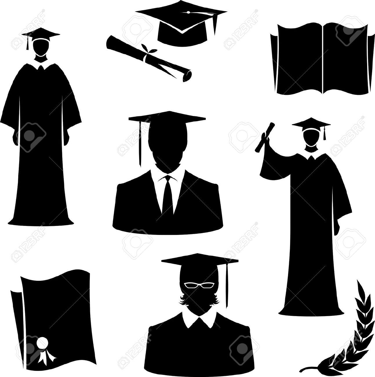 Cap And Gown : Graduates And Graduation Items (Vector