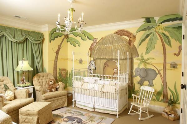 Babyzimmer Dschungel Wandmalerei Motive Schule Nursery