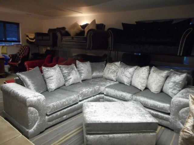 Brand New Silver Crushed Velvet New Yorker Corner Suite Corner Sofa Corner Group New Corner Sofa Gorgeous Bed Velvet Corner Sofa