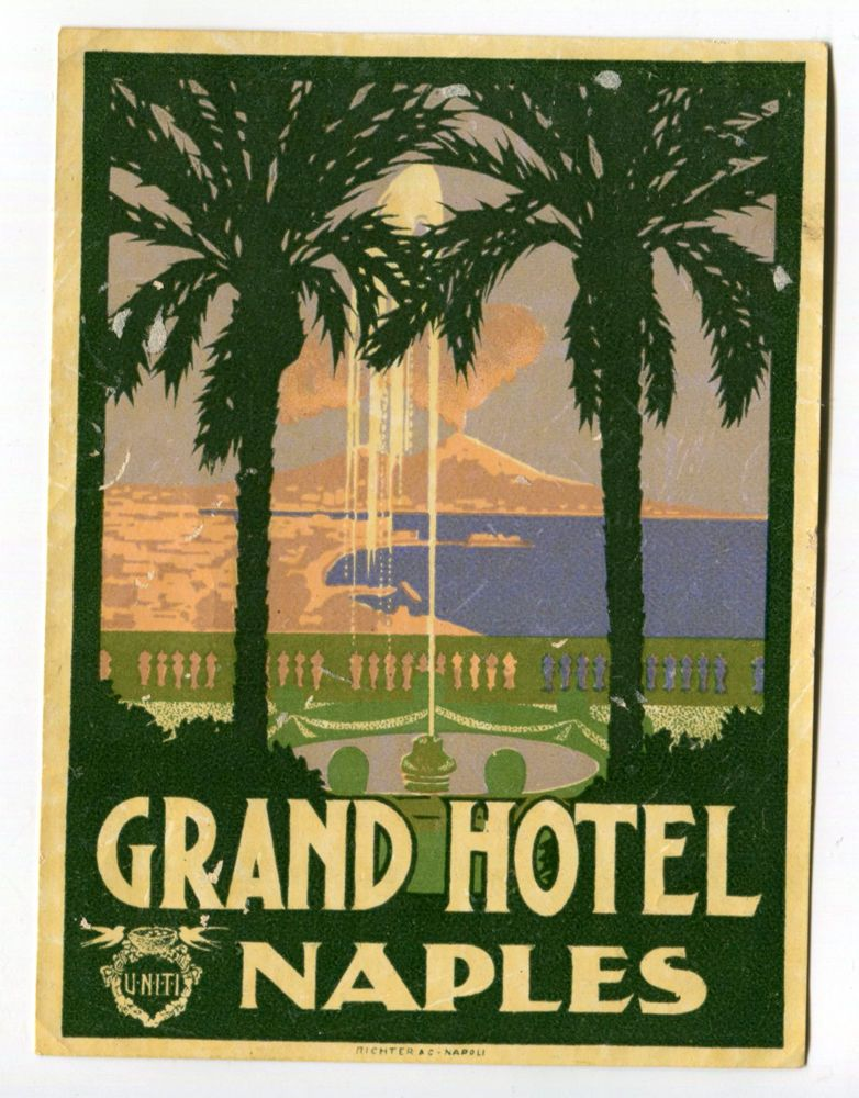 Rare Grand Hotel Naples Italy Richter 1930 Hotel Luggage