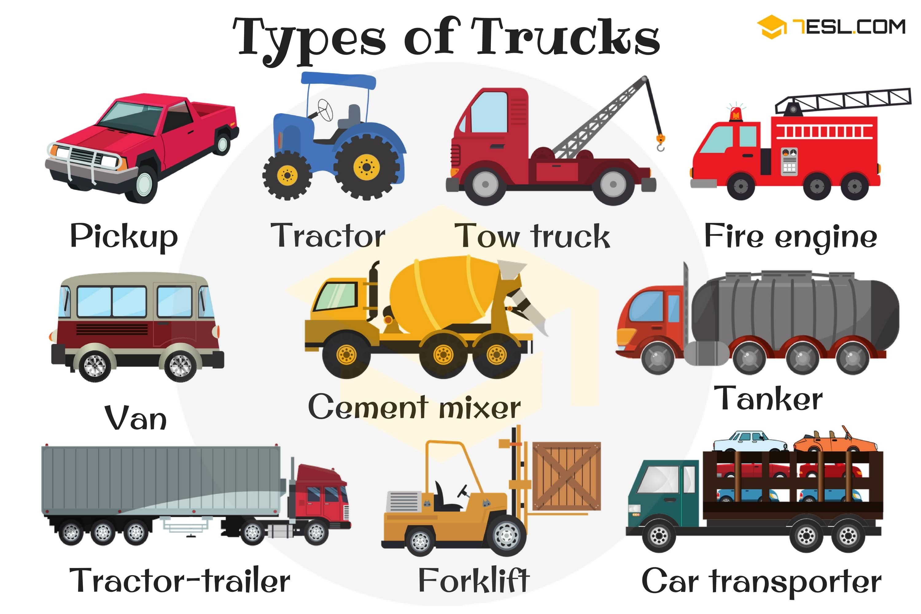 English Vocabulary Types Of Trucks With Pictures