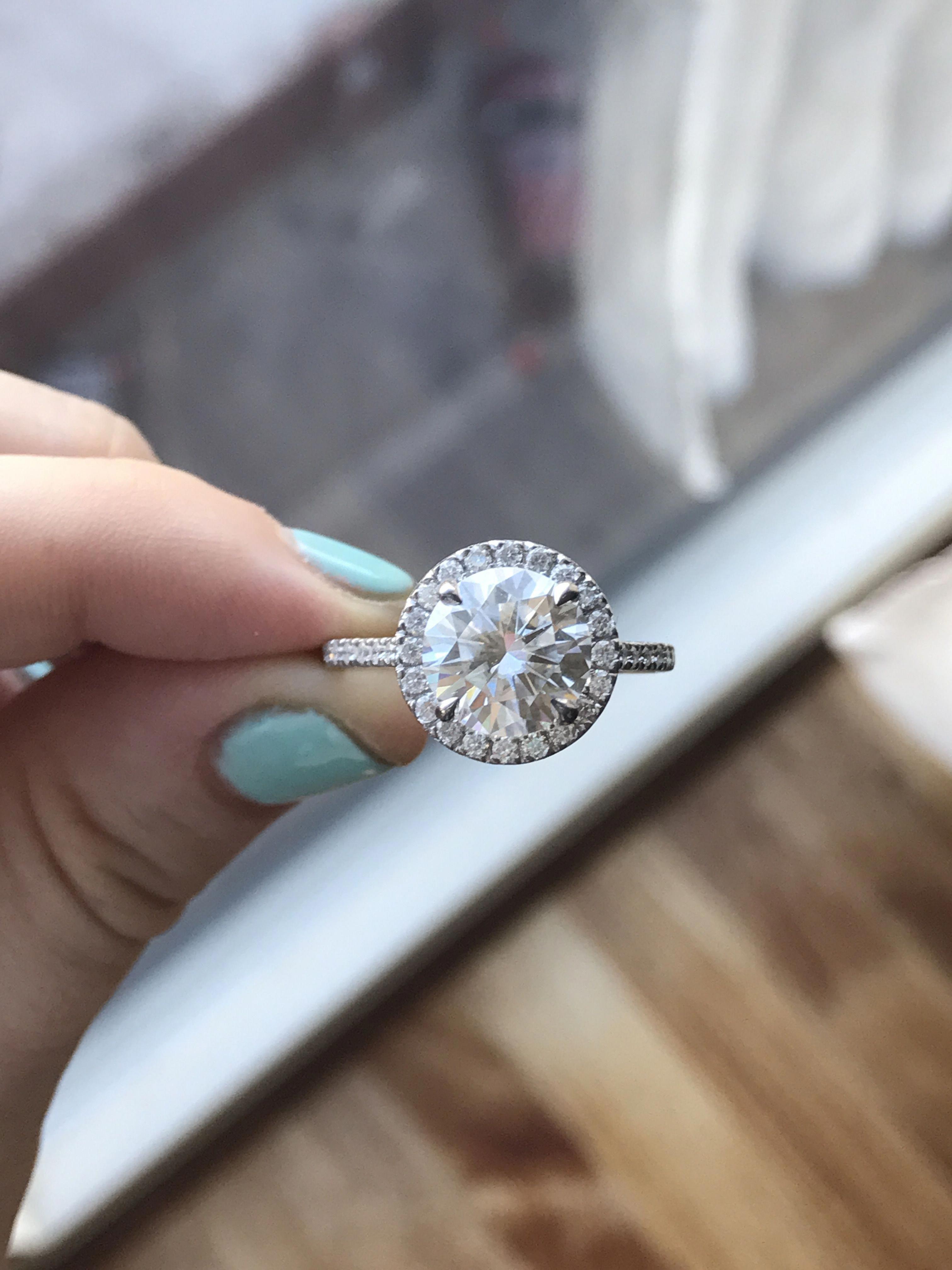 NEO moissanite Halo engagement ring. 4 carat center. White