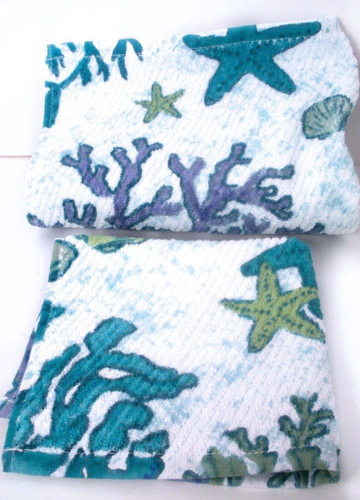 Sage Island Spa Reef Hand Towel And Wash Cloth Seashell Coral