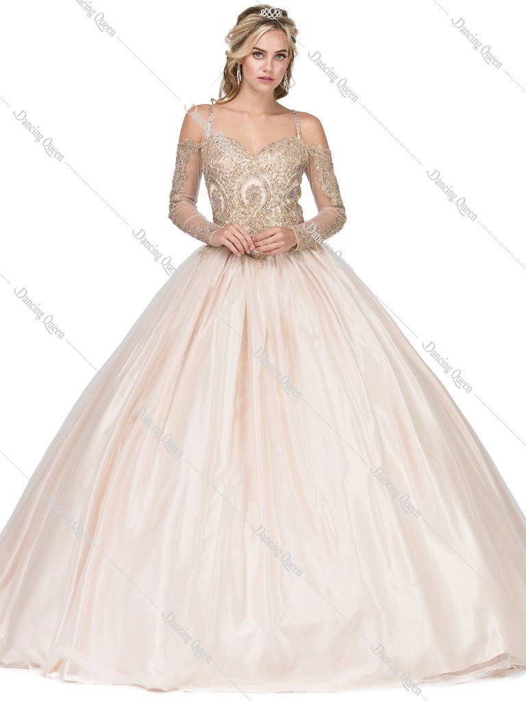 16d602c39314 Off the Shoulder Ball Gown with Gold Appliques by Dancing Queen  1269-Quinceanera Dresses-