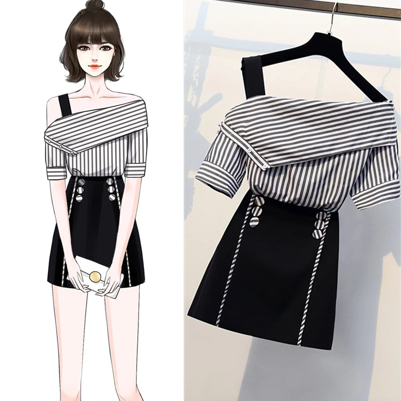Striped Shirts Top And Button A-Line Skirt Two Piece SR01