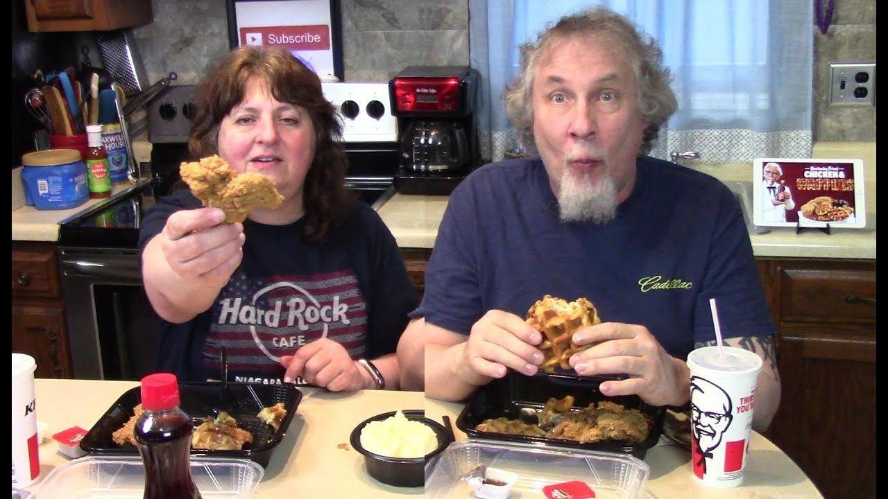 Eating Kfc Chicken And Waffles Chicken And Waffles Kfc Chicken Eat