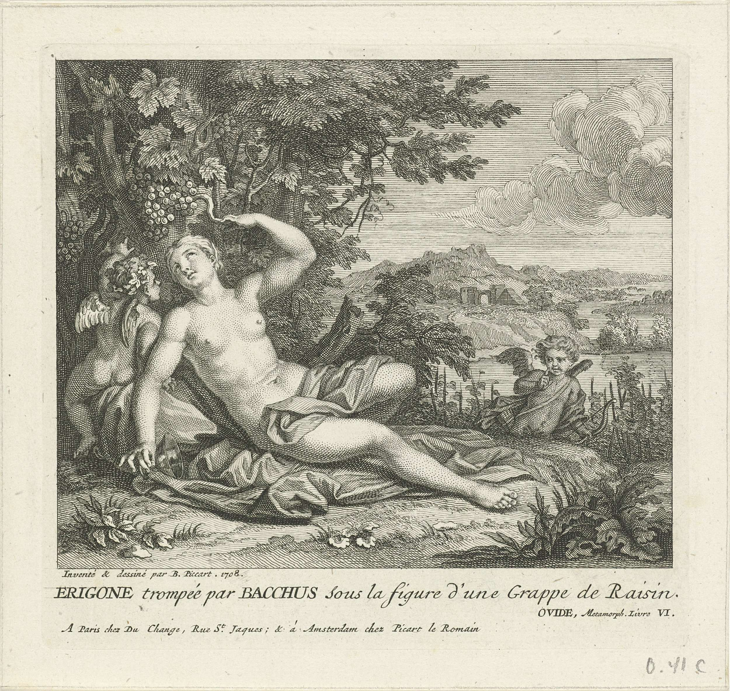 Bernard Picart | Bacchus en Erigone, Bernard Picart, Gaspard Duchange, 1708 | Bacchus, in de gedaante van een druiventros, verleidt Erigone. Zij ligt in het gras en kijkt op naar de tros die aan een tak hangt, in haar hand een drinkbeker. Amor kijkt toe. In de marge een onderschrift in het Frans.