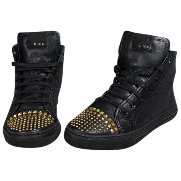 Pre-owned Gucci California Studded Leather High Top Sneakers - Size 7... ($500) ❤ liked on Polyvore featuring shoes, sneakers, black, black studded sneakers, studded high-top sneakers, black sneakers, black shoes and black leather high tops