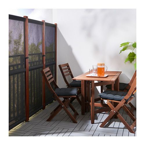 SLÄTTÖ Privacy screen, outdoor Black brown stained 211x170 cm - terrasse paravent sichtschutz