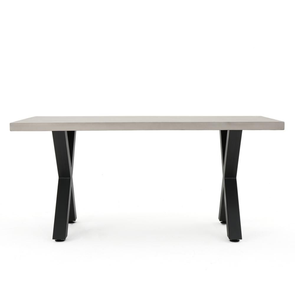 Noble House Black Rectangular Stone And Metal Outdoor Dining Table 16539 The Home Depot Concrete Dining Table Outdoor Dining Table Dining Table Black