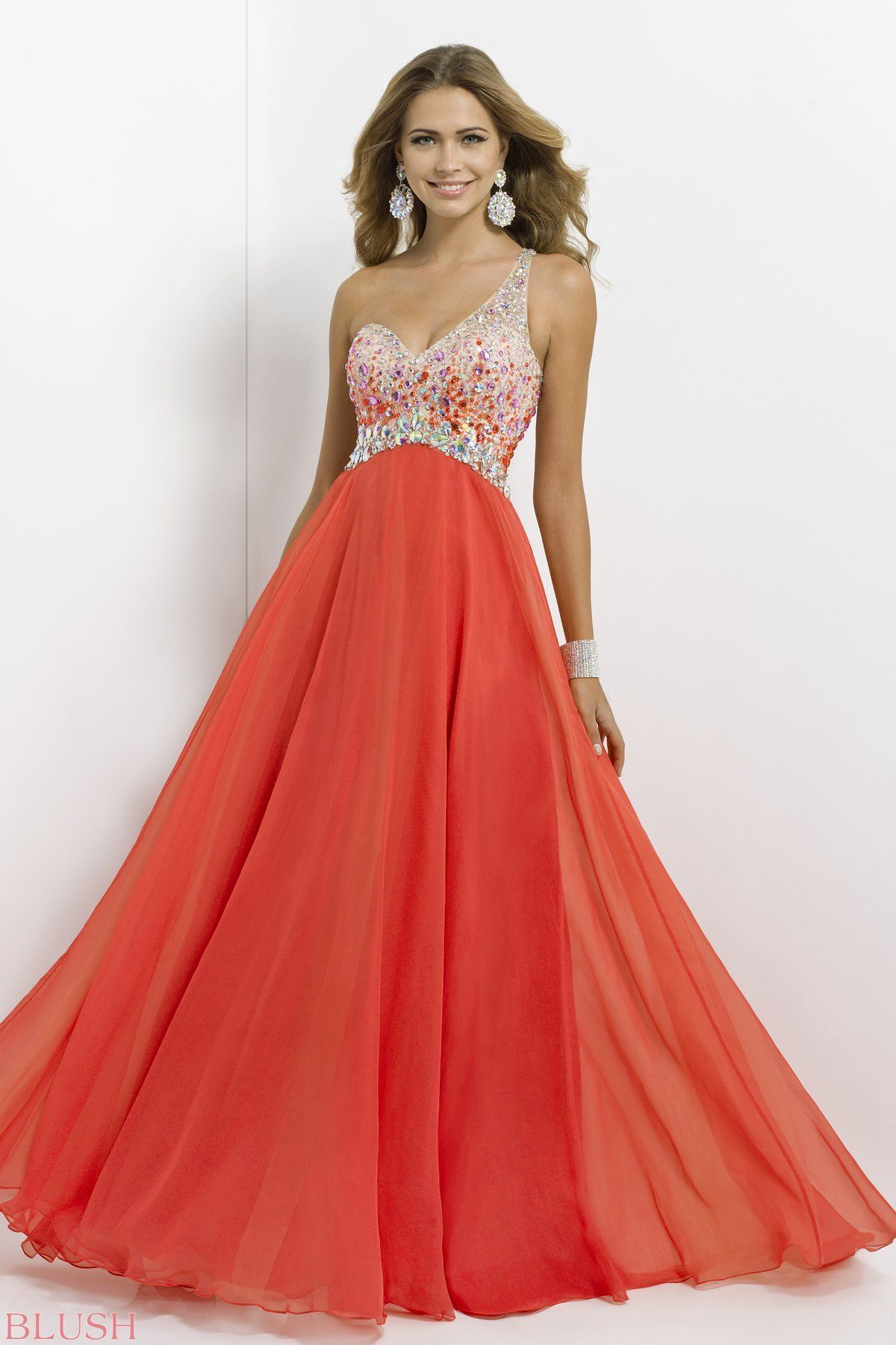 A Line Party One Shoulder Luxurious Style Chiffon Prom Dresses With Beading  Prom Dresses/ Evening Dresses/Wedding Dresses
