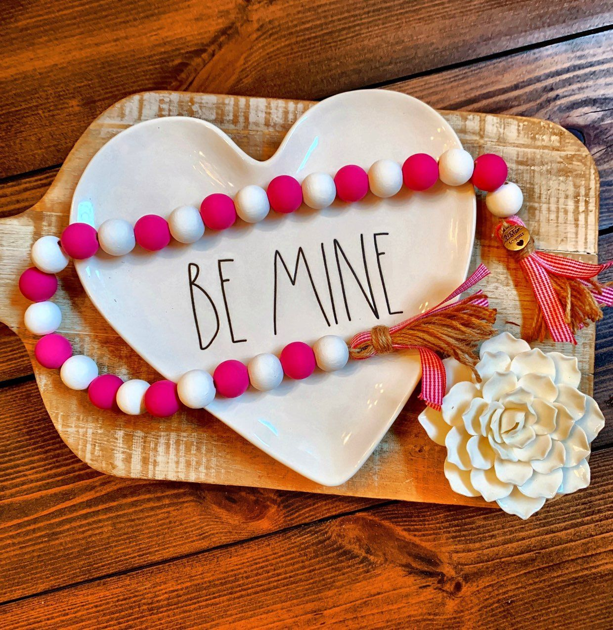 Pink Heart Love Printed Handmade Wood Valentine Ornament Small Sign