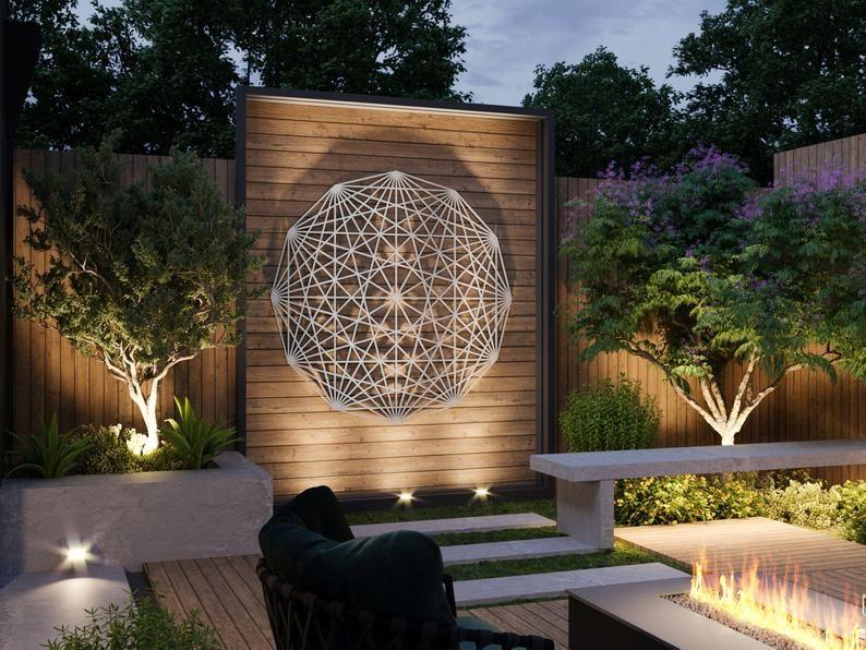 Tesseract Sacred Geometry Outdoor Metal Wall Art S