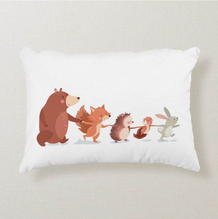 Woodland Forest Animals Throw Pillow - Nursery Decor