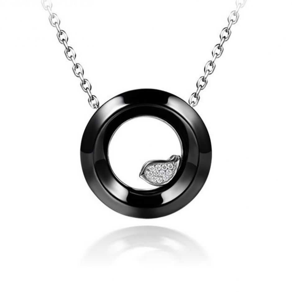 Facetted Ceramic Hoop With Paved CZ 925 Sterling Silver Bird Necklace Wholesale China