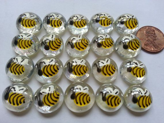 MINI Hand painted glass gems party favors mini art BEES Bee