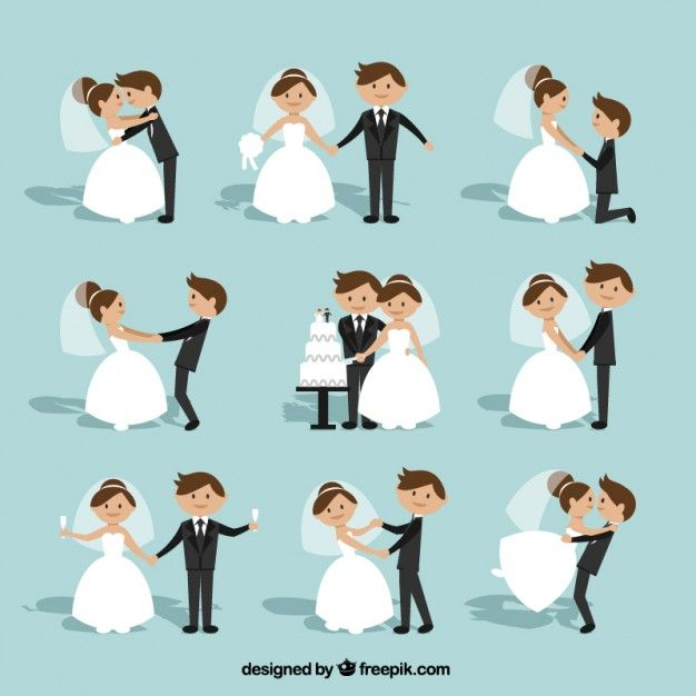 Flache Hochzeits Paar Sammlung Kostenlose Vektoren Clipart