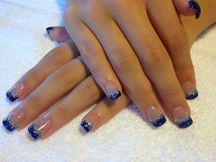 full set builder gel nails in majestic blue and hazed silver-LED ...