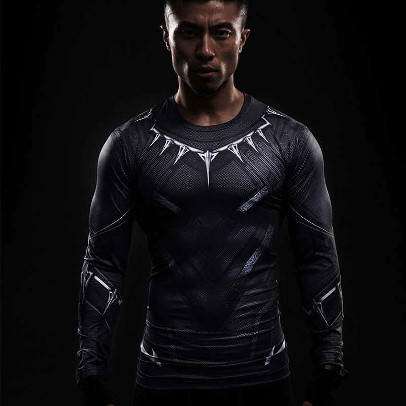 a914d55f Black Panther 3D Printed Men Compression Crossfit T-shirts Long ...