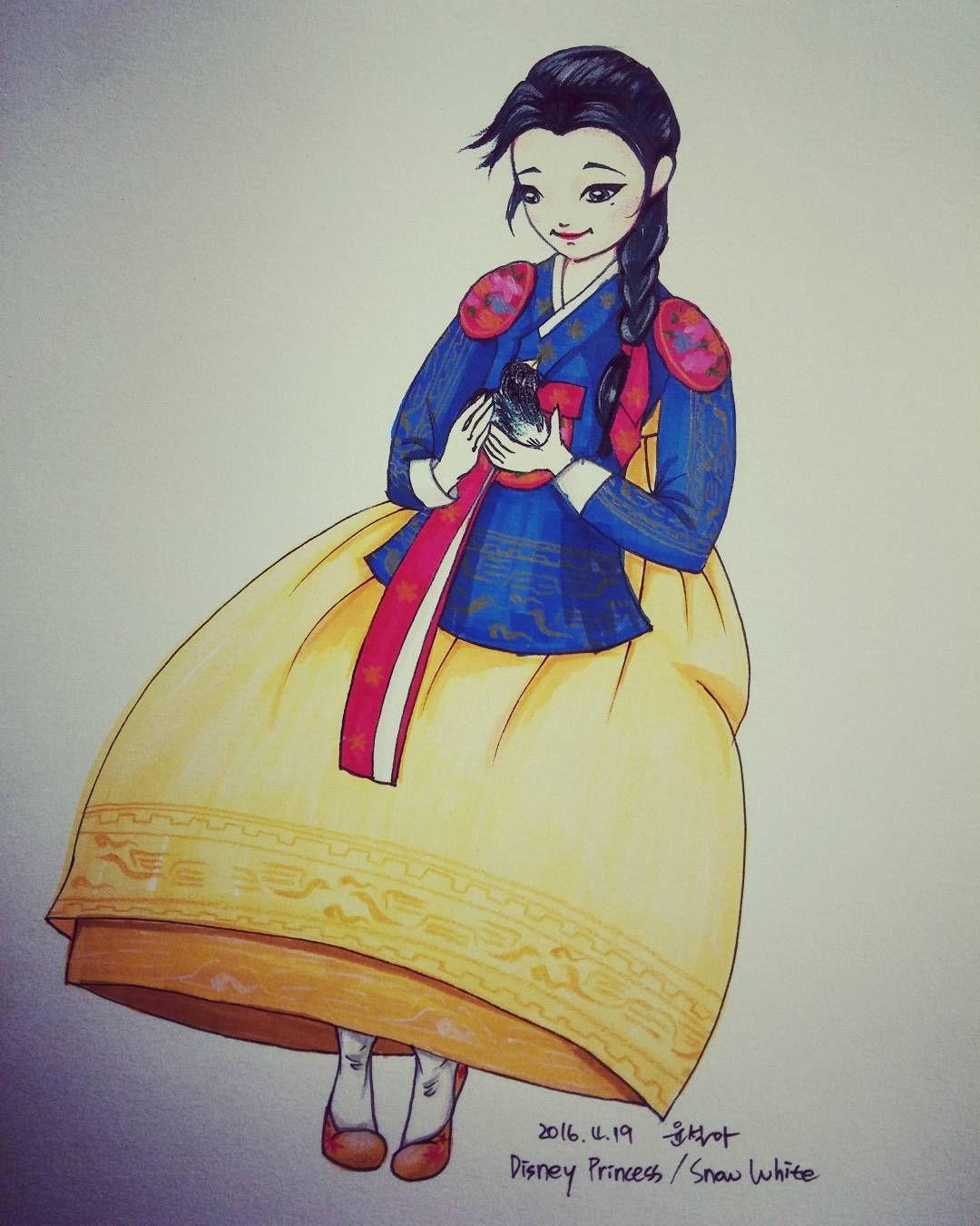 식상하지만 재밌는 생각 :) #좋아서그린다그램 #백설공주 #한복버전 #한복일러스트 #까치는거들뿐 #disneyprincess #snowwhite #koreantreditionaldress ver.