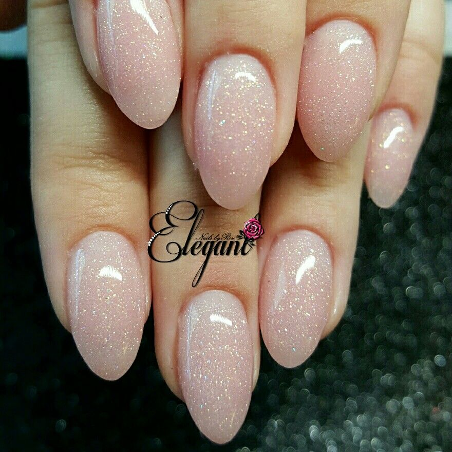 Pink Sculpted Nails Almond Shaped My Own Glittery Blend