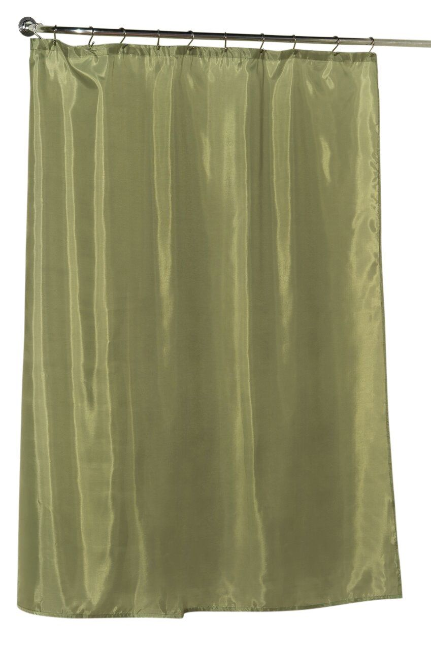 Sage Green Water Resistant Fabric Shower Curtain With Weighted