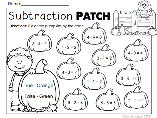 October Printables First Grade Literacy, Math, and