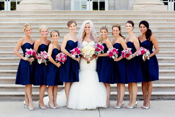 Navy Bridesmaid Dresses And Pink Flowers