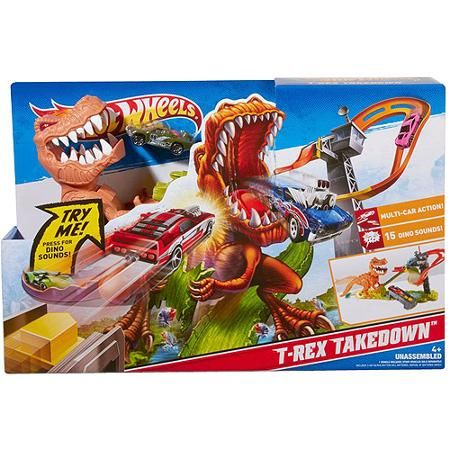 hot wheels t rex takedown play set gifts for boys. Black Bedroom Furniture Sets. Home Design Ideas