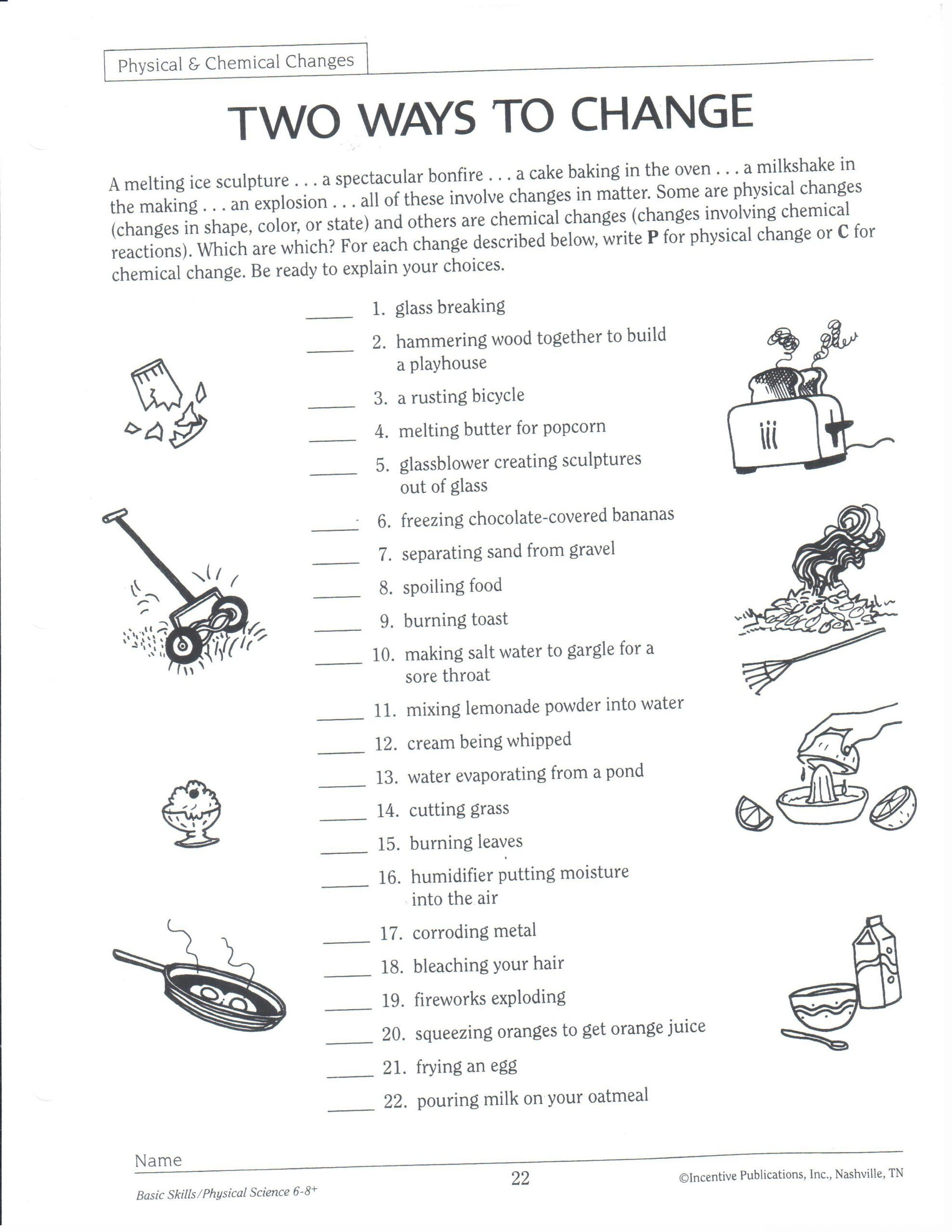 Physical Science Worksheet Answers Two Ways To Change Physical And Chemical Changes Worksheet In 2020 Science Worksheets Physical Science Kids Worksheets Printables