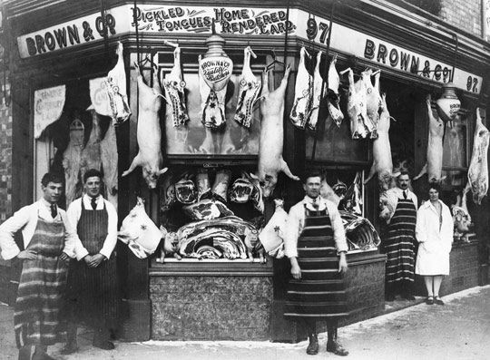 Butcher Shop Display Butcher /& Family Old Photo