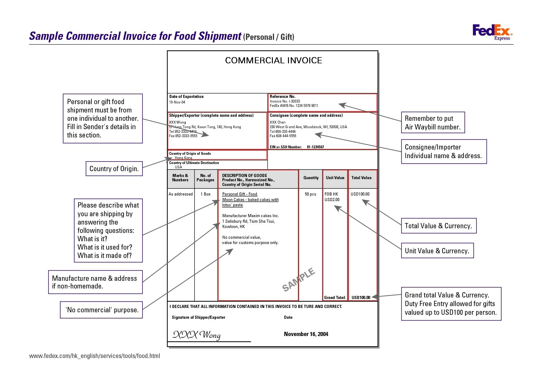 commercial invoice fedex fedex commercial invoice form