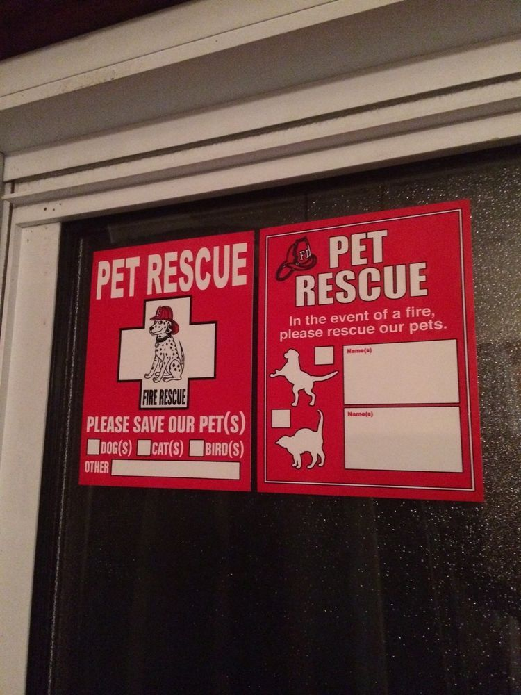 PET RESCUE Window Sticker Dog Cat Protection FIRE Department - Window decals for bird protection