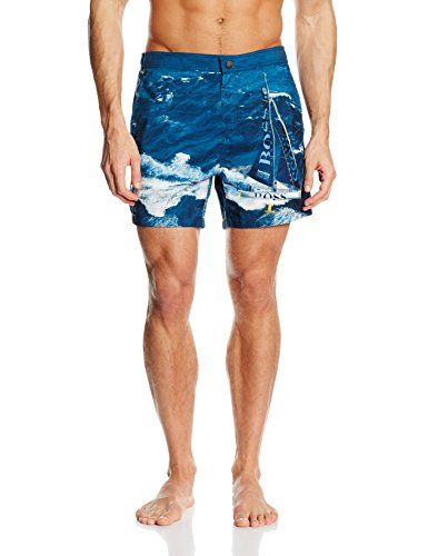 b3aab637 Hugo Boss Blackfish Boat Print Formal Men's Swim Shorts, Blue Large -- This  is an Amazon Associate's Pin. Click the VISIT button for detailed  description on ...