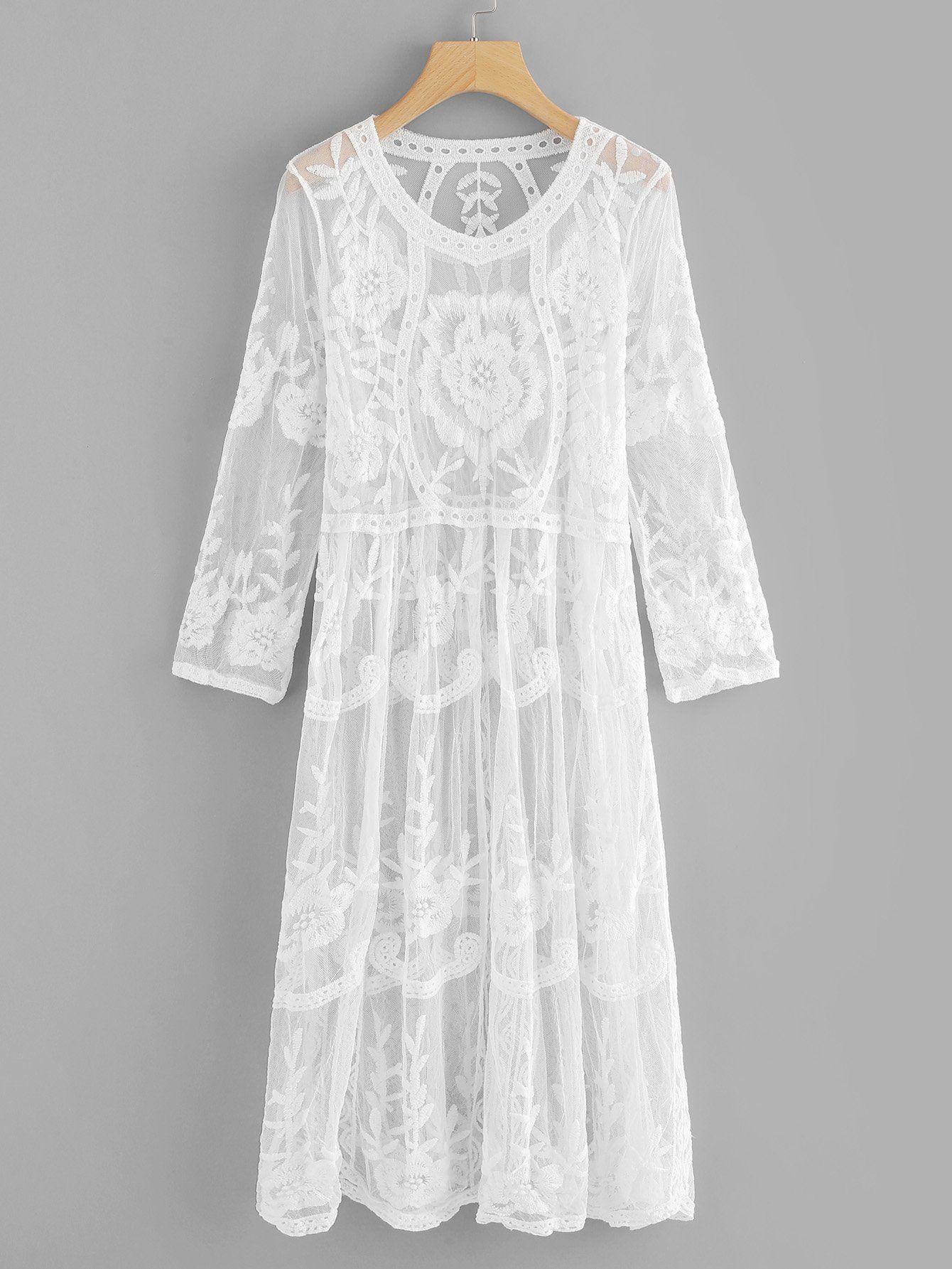 Robe brodée fleurie en dentelle transparentefrench romwe mode