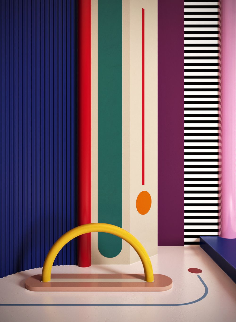mix of dark and pastel colours with striped and geometric shapes ...